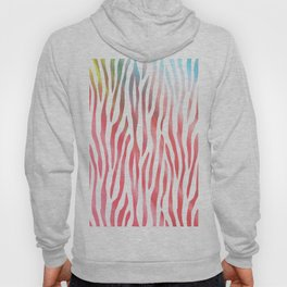 Abstract pink coral teal aqua watercolor zebra pattern Hoody