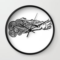 crocodile Wall Clocks featuring crocodile by bloodpurple
