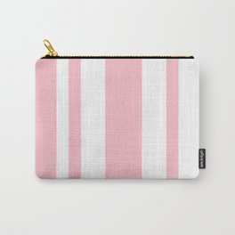 Mixed Vertical Stripes - White and Pink Carry-All Pouch
