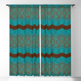 September Curves (Brown & Teal) Blackout Curtain