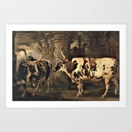 James Ward - ortraits of two extraordinary oxen, the property of the Earl of Powis Art Print