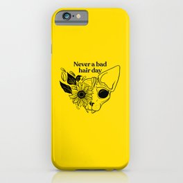 Never a bad hair day - Hairless Sphynx Cat Skull with a Sunflower - Funny Animal Quote - Line Drawing Wrinkly Kitty - Illuminating Yellow iPhone Case