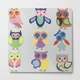 Set of cute colorful owls Metal Print