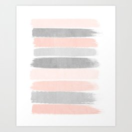 Grey and millennial pink stripes painted minimalist brushstrokes canvas art Art Print
