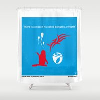 mercedes Shower Curtains featuring No145 My HANGOVER PART 2 minimal movie poster by Chungkong