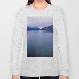 Lake Hawea lake wakatipo blue crystal clear panorama blue Long Sleeve T-shirt