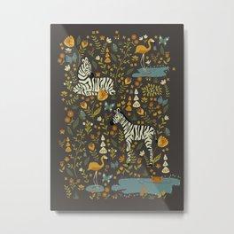Zebras in Wild Fall Garden Metal Print