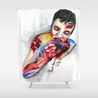 zombie Shower Curtains featuring Zombie by Camille Ratté
