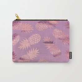 Pretty Pink & Rose Gold Pineapple Pattern Carry-All Pouch