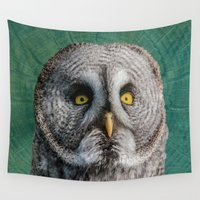 supreme Wall Tapestries featuring GREY OWL by Catspaws