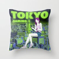 gaming Throw Pillows featuring Tokyo Gaming by monocefalus