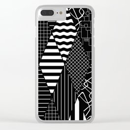 Black and White Diamond Collage Pattern Clear iPhone Case