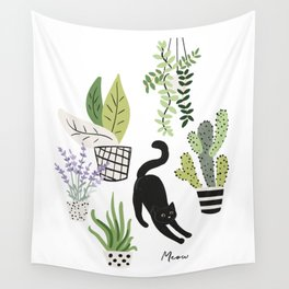 Black cat and plants in the pots. Morning stretch Wall Tapestry