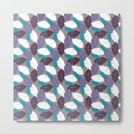 Multicolored Teal, Purple and White Leaf Pattern Metal Print