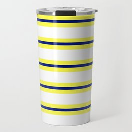 Nautical Yellow, White and Navy, Crisp and Clean Lines Travel Mug