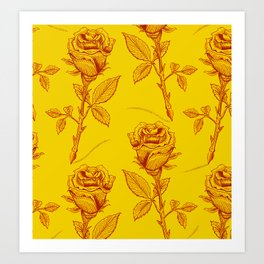 Yellow Roses pattern Art Print
