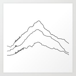 Tallest Mountains in the World B&W / Mt Everest K2 Kanchenjunga / Minimalist Line Drawing Art Print Art Print