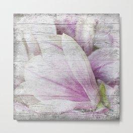 Magnolia Flower  on old wood Metal Print