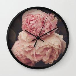 Pink Peony Trio Wall Clock