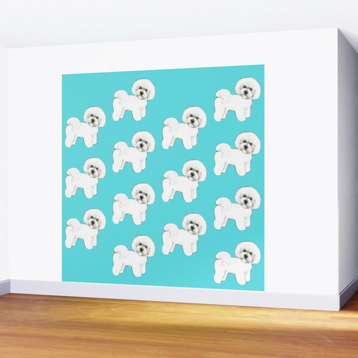 Bichon Frise on aqua / teal / cute dogs/ dog lovers gift Wall Mural
