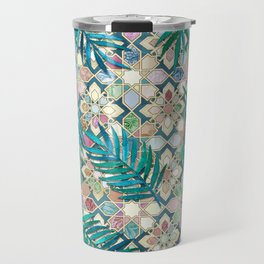 Muted Moroccan Mosaic Tiles with Palm Leaves Travel Mug
