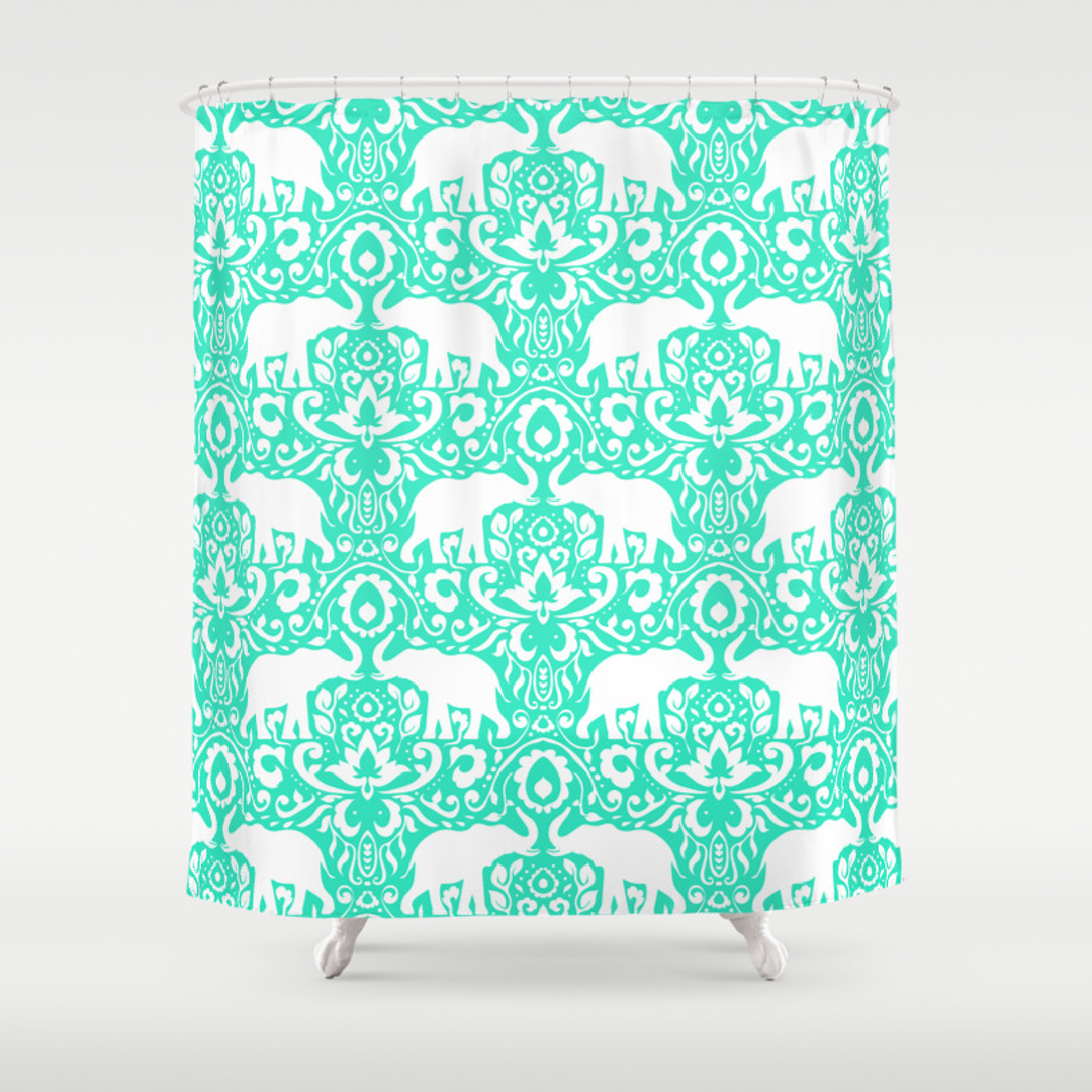 Animals Childrens Graphicdesign And Pattern Shower Curtains - Mint green shower curtain
