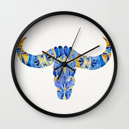 Water Buffalo Skull – Navy & Yellow Wall Clock