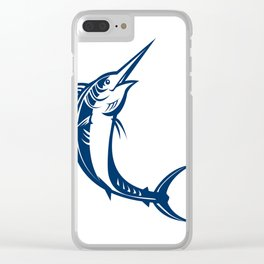 Blue Marlin Jumping Retro Clear iPhone Case