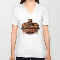 pitbull V-neck T-shirts featuring PITBULL RIDERS by gtrullas