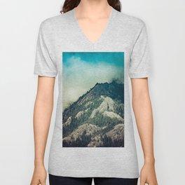 Cloudy Mountain Ridge Unisex V-Neck