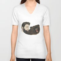 beard V-neck T-shirts featuring BEARd by Casie Tanksley