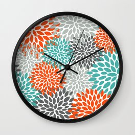 Floral Pattern, Abstract, Orange, Teal and Gray Wall Clock