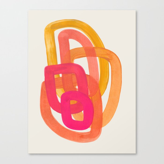 Funky Retro 70' Style Pattern Orange Pink Greindent Striped Circles Mid Century Colorful Pop Art Leinwanddruck