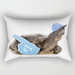 Turtle in Ball Cap and Foam Finger Rectangular Pillow