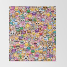 emoji / emoticons Throw Blanket
