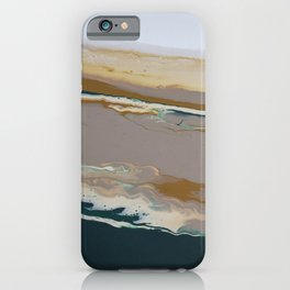 So Far Away Green Brown Neutral Marble Fluid Acrylic Painting iPhone Case
