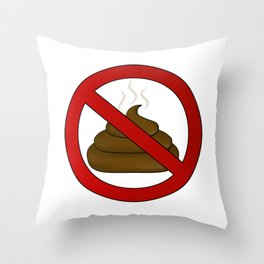 no dog poop sign illustration Throw Pillow