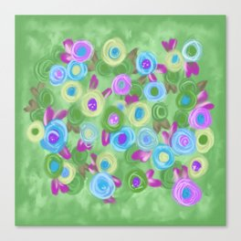 Rose Garden cottage roses green blue lavender painting Canvas Print