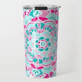Hot Pink & Teal Mandala Flower Travel Mug