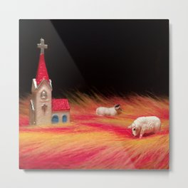 The Grazing Sheep & The Countryside Chapel Metal Print