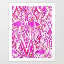 HEY FLAMINGO Pink Watercolor Tribal Art Print