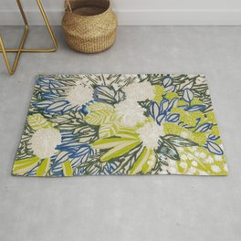 White chrysanthemums -ink floral Rug