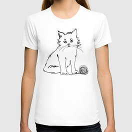 Katzen 012 / Cute Kitten Minimal Line Drawing T-shirt