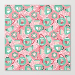 Abstract mauve pink green white sweet pattern Canvas Print