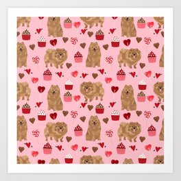 Pomeranian valentines day love hearts cupcakes pattern cute puppy dog breeds by pet friendly Art Print
