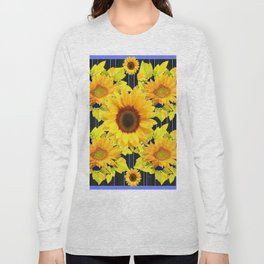 Yellow Sunflowers Pattern in Black-Blue Long Sleeve T-shirt