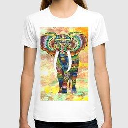 Rainbow Elephant Yellow Background T-shirt