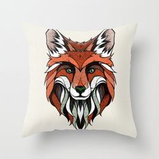 Fox // Colored Throw Pillow