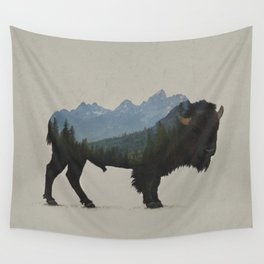 Grand Teton Bison Wall Tapestry