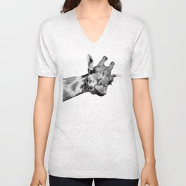Black and white giraffe Unisex V-Neck